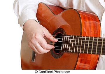משחק, הפרד, גיטרה, אקוסטי, איש, טיפוסי