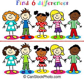 משחק, ילדים, דמויות, הדבק, הבדל