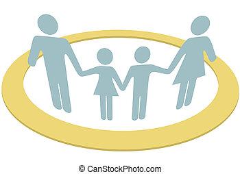 משפחה, אנשים, בתוך, כספת, בטחון, הסתובב, צלצל