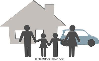 משפחה, אנשים, דיר, סמלים, מכונית, בית