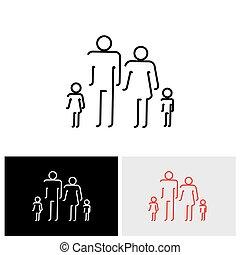 משפחה, אנשים, תקציר, איקונים, -, ארבעה, וקטור, להשתמש, ציור של קו, איקון