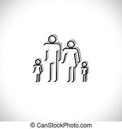 משפחה, אנשים, תקציר, איקונים, ארבעה, להשתמש, ציור של קו