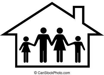 משפחה, דיר, כספת, הורים, בית, ילדים, שמח