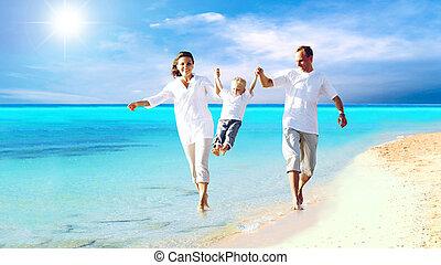משפחה, צעיר, כיף, שמח, החף, בעל, הבט