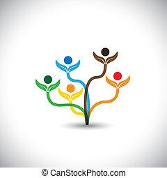 משפחה, eco, -, concept., עץ, וקטור, שיתוף פעולה, איקון