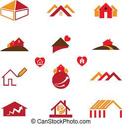 משרד אמיתי, עסק, &, דיר, איקונים, רכוש, לוגו
