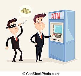 משרד, כסף, גנב, מטבע, מנהל, הרוג, salary., אלקטרוני, card., זכה, concept., אופי, הפרד, פושע של פשע, דירה, עובד, דוגמה, איש עסקים, לנסות, איש, גרפי, כספומט, פדה, שודד, בן אדם, וקטור, הוצא, עצב, גנב