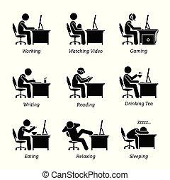 משרד, לעבוד, מנהל, workplace., מחשב, חזית