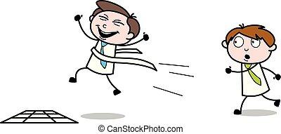 משרד, מוכר, -, דוגמה, וקטור, עובד, לרוץ, ציור היתולי