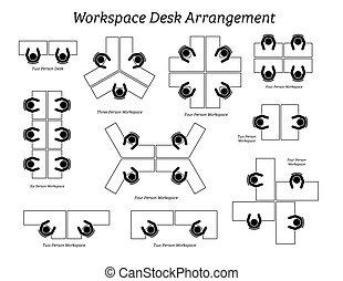 משרד, סידור, אזור עבודה, שולחן, company.