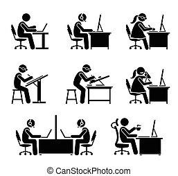 משרד., עובד, מחשב, מחשב נייד, לעבוד