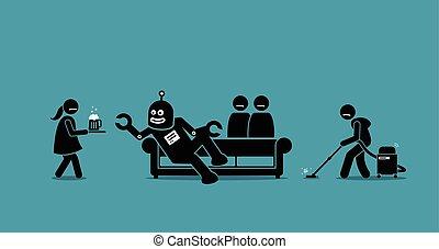 משרת, robot., בעלת, בן אנוש, העשה
