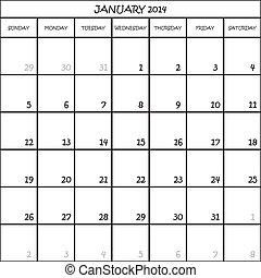 מתכנן, ינואר, חודש, רקע, 2014, לוח שנה, שקוף