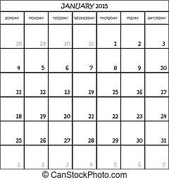 מתכנן, ינואר, חודש, רקע, 2015, לוח שנה, שקוף
