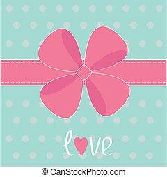 מתנה, ורוד, גדול, כרע, ribbon., אהוב, card.