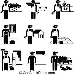 מתקן כל דבר, מומחה, עבודות, מיקצועים