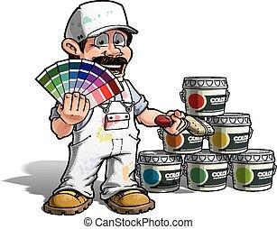 מתקן כל דבר, צבע, -, מדים, לבחור, לבן, צייר