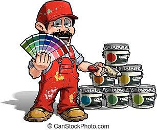 מתקן כל דבר, צבע, -, מדים, צייר, לבחור, אדום