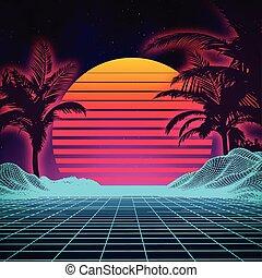 נוף., נוף, עתידי, ס.כ.י. פ.י., רקע דיגיטלי, style., 80s, ראטרו, סייבר, surface., 1980s, קיץ, עצב, מפלגה