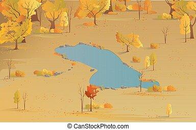 נוף, של נוף, צבעים, lake., סתו, הבט, הציין, עצים, צהוב, חנה