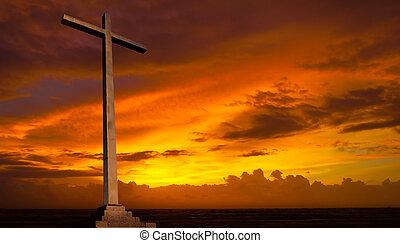 נוצרי, רקע., sky., עובר, דת, שקיעה