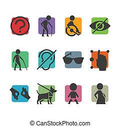 ניגש, קבע, צבעוני, אנשים, באורח פיסי, נכה, וקטור, סימנים, איקון