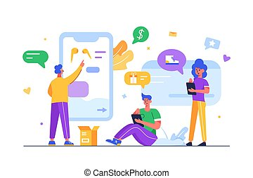 נייד, אנשים, devices., קניות של אינטרנט, דרך