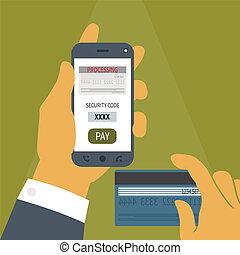 נייד, מושג, תשלום, וקטור, smartphone.