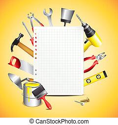 נייר של בניה, כלים, טופס