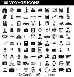 נסיעה, סיגנון, איקונים, קבע, פשוט, 100