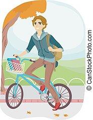 נער, בחור, אופניים, קולג', החלף