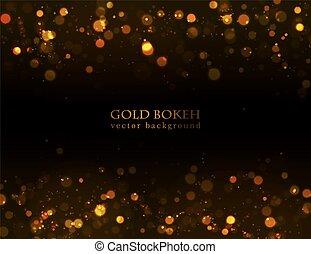 נקודות, חושך, זהב, התנצנץ, רקע., קסם, bokeh, וקטור, effect.