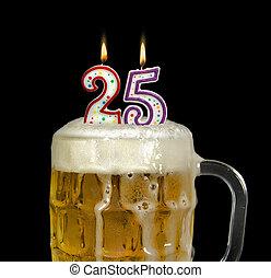 נרות, בירה, יום הולדת, 25th