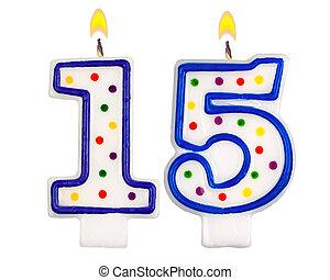 נרות, יום הולדת, חמשה עשר, מספר