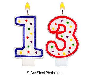 נרות, יום הולדת, מספר, שלושה עשר