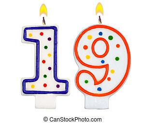 נרות, יום הולדת, nineteen, מספר
