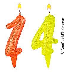 נרות, מספר, הפרד, ארבעה עשר, יום הולדת, לבן