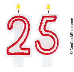 נרות, מספר, הפרד, יום הולדת, חמשה, עשרים