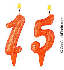 נרות, מספר, הפרד, יום הולדת, לבן, חמשה עשר