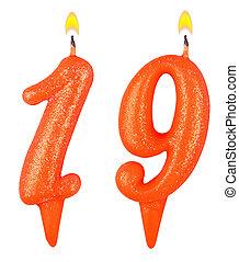 נרות, מספר, הפרד, יום הולדת, לבן, nineteen
