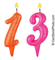 נרות, מספר, הפרד, יום הולדת, שלושה עשר, לבן