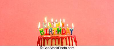 נרות, שמח, עוגה, יום הולדת, להשרף, צבעוני