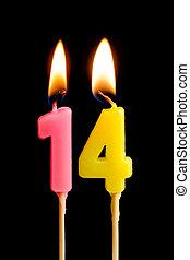 נרות, dates), ארבעה עשר, הפרד, יום הולדת, מושג, להשרף, עוגה, שחור, חופשה, שולחן, לחגוג, 14, דמויות, רקע., חשוב, יצור, (numbers, יום שנה, מסגרת, תארך
