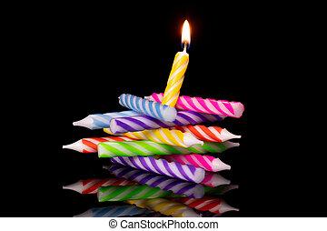 נר, שחור, עוגה של יום ההולדת, הפרד, כוס