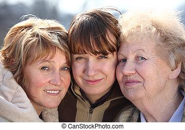 נשים, דורות, דמות, מישהו, משפחה, שלושה