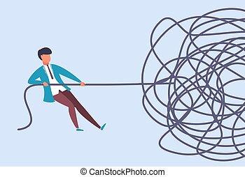 סבך, מצא, בעיה, מטפורה, מושך, דוגמה, analysis., לפתור, concept., איש עסקים, situation., וקטור, התחיל, אופי, לשלוף, מסובך, cable., אתגר, הסתיים, ציור היתולי, rope.