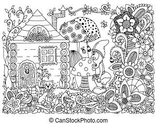סבך, פרחים, וקטור, garden., שדון, לצבוע, שרבט, זן, דוגמה, house., שחור, מדגיש, נגד, adults., חתול, white., הזמן