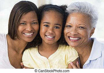 סבתא, ילדה, מבוגר, נכד