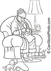 סבתא, לצבוע ספר, knittin.