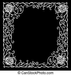 סגנן, curves., ורדים, שחור, תבנית